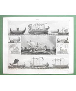 SAILSHIPS Phoenicians Roman War Games Naumachia - SUPERB 1844 Antique Print - $26.01