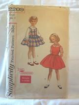 Simplicity 2209 Vtg 1950's Girls Rockabilly jumper dress blouse SZ 2 Che... - $10.00