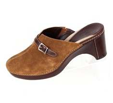 Cole Haan Shoes 8.5 B Brown Suede Leather Mules Clog Made in Brazil EU 39 - $58.04