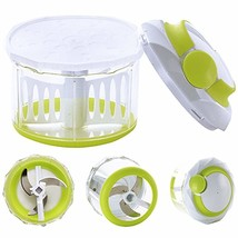 Hand Manual Vegetable Chopper Pull Mincer Blades Plastic Mixer Blender F... - $12.56