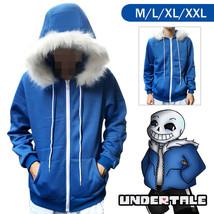 Undertale Sans Cosplay Costume Blue Hoodie Winter Coat Hooded Jacket Swe... - $23.54