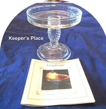 One Longaberger Glass Pedestal Candle Holder Clear Basket Weave Retired New - $14.00