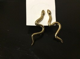 Gold Tone Asp Snake Post Stud EARRINGS Cleopatra egyptian goddess masque... - $11.57 CAD