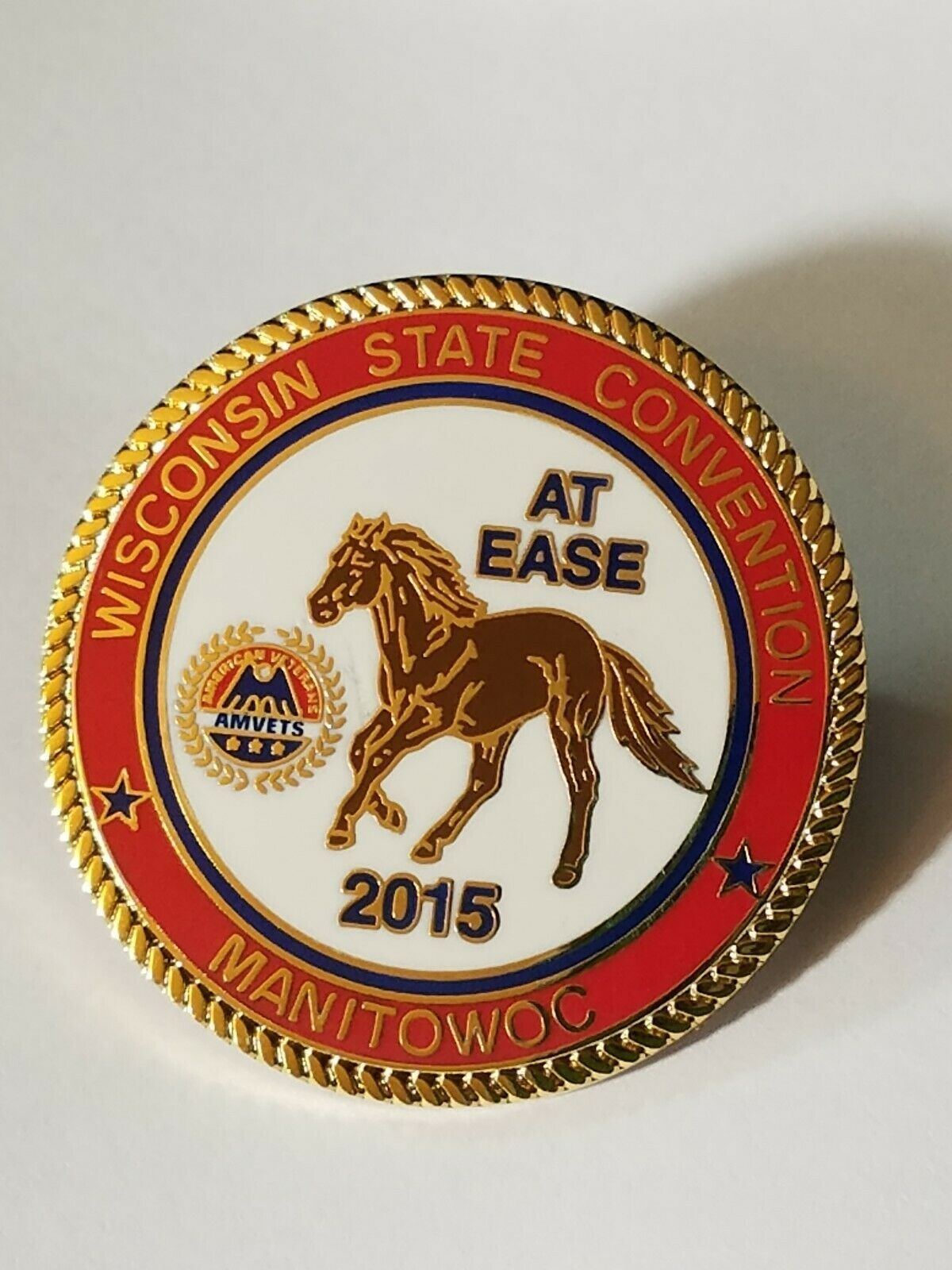 VINTAGE AMVETS WISCONSIN STATE CONVENTION AT EASE 2015 MANITOWOC Lapel Pin