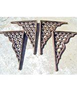 4 Cast Iron Wall Shelf Brackets, honeycomb design braces bz - $119.98