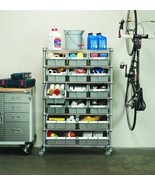 NEW Heavy Duty Storage 7 Shelves Shelf Rack Steel Shelving 16 Bins Wheel... - $207.89