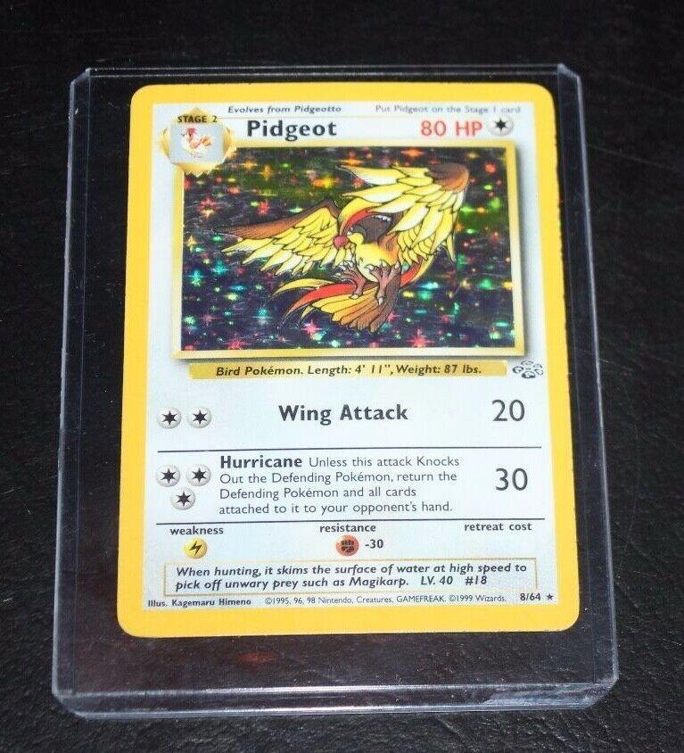 Pidgeot Holo Rare  8/64 Holo No Symbol WOTC Jungle 1999 Pokemon Card