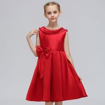 Red Satin Pricess Flower Girl Dress 2019 Cheap Ball Gown Wedding Kid Party Gowns image 1