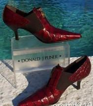 Donald Pliner Gator Leather Boot Shoe Pump New Elastic Panels Signature NIB $295 - $132.75