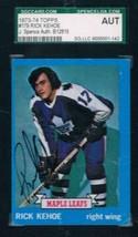 1973-74 Topps #179 Rick Kehoe Rookie Card Maple Leafs JSA Auto - $19.75