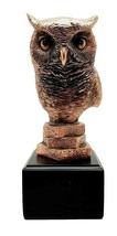 Woodland Nocturnal Bird Hunter Long Eared Owl Bust Electroplated Figurin... - $38.99