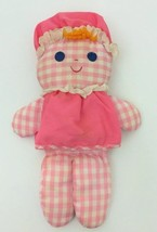 "1975 Fisher Price 420 Lolly Doll Baby Rattle Toy Pink White 12"" - $49.49"