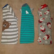 3 Carter's Fleece Footie Pajamas Lot Boy 4T/4 Santa Christmas Bear Strip... - $20.74