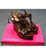 XHILARATION Tafia Cognac BROWN Womens Wedge Shoes High Heel Sandals Size... - $19.99
