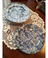 Enoch Wedgwood & Co. Gainsborough Blue Bread Dessert Plates 7, Made in E... - $45.00