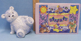 Lot of Blue Ceramic Teddy Bear Bank and Baby Picture Album in Lavender - $12.22
