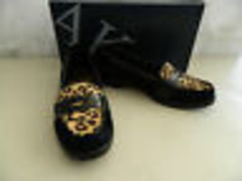 Anne Klein New Womens Lizbeth Black Multi Suede Loafers 6 M Shoes - $58.41