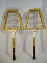 Pair of Vintage SPORTCRAFT Wooden Tennis Racquets Med Lg w/ Press Japan - $36.62