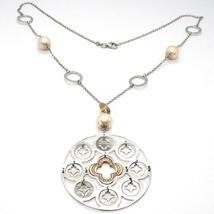 Collier Argent 925, Perles Rose, Médaillon Pendentif,Travaillé,Disque image 1