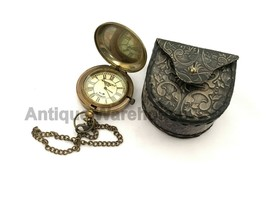 Handmade Nautical Antique Brass Working Pocket Watch With Leather Case Gift - £22.15 GBP
