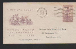 Rhode Island Tercentenary 1936 First Day Cover Providence May 4 - $10.07
