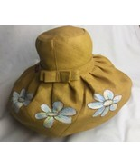 Madagascar Hat Company Big wide brim Floppy Hat sz M Yellow Paint Flowers - $37.39