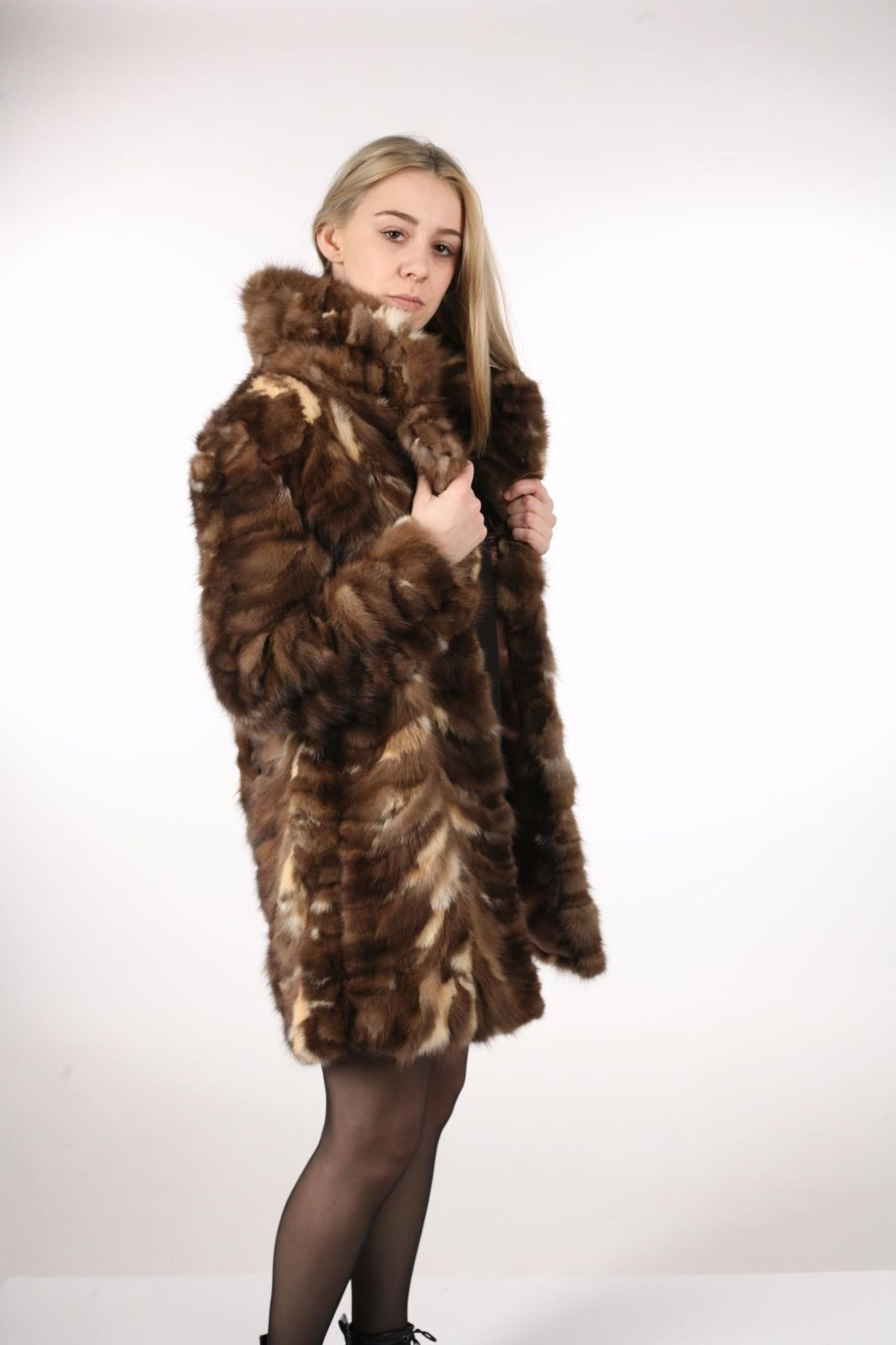 Brown Sable Fur Coat Sectional size Large US 12 EU 42  Genuine Sable 100% image 4