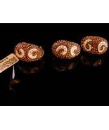 Dazzling Signed Moon earrings - Swarovski pave bronze ring -18kt bronze ... - $235.00