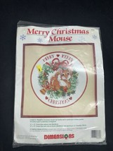 Dimensions Cross Stitch Kit 8435 Merry Christmas Mouse NIP 1992 - $11.92