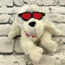 Valentine's Gorilla Singing Plush White Heart Shades Sitting Stuffed Animal Soft - $7.91