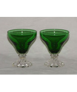 Vintage (2) Anchor Hocking Boopie Forest Green Juice Cocktail Glass - $21.99