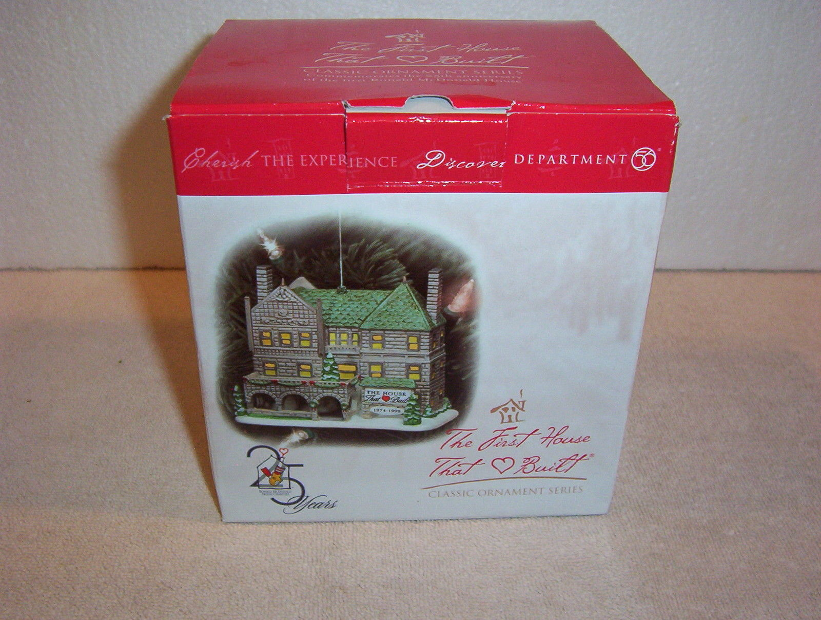 "Primary image for Dept. 56 ""THE FIRST HOUSE THAT LOVE BUILT"" 25 year anniversary ornament - NIB"
