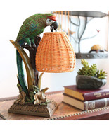 "16349 13.8""H Welcoming Parrot with a Wicker Basket Shade Table Lamp - $120.00"