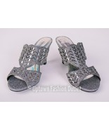 Women's Pierre Dumas Low Heel Church Formal Dress Pewter Sandals Evelyn-1 - $39.99
