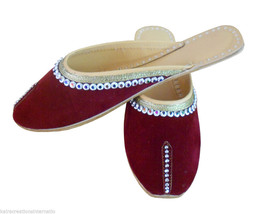 Women Slippers Indian Handmade Leather Traditional Clogs Jutti Maroon US 9  - $24.99