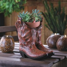 Cowboy Boots Planter with Drain Hole at Bottom Western Decor - $27.67