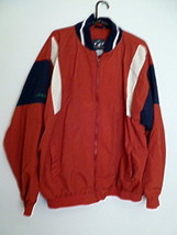 Mens IZOD 100% Nylon Warm-Up Red and Black Jacket with White Accent Stri... - $11.26