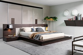 Modrest Torino Contemporary Brown Oak & Grey Platform Bed w/ Lights - $3,124.00