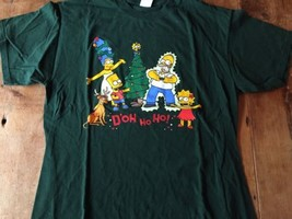 The Simpsons Christmas T-Shirt D'oh Ho Ho! Tree Homer Bart rare Electric Shock L - $14.24