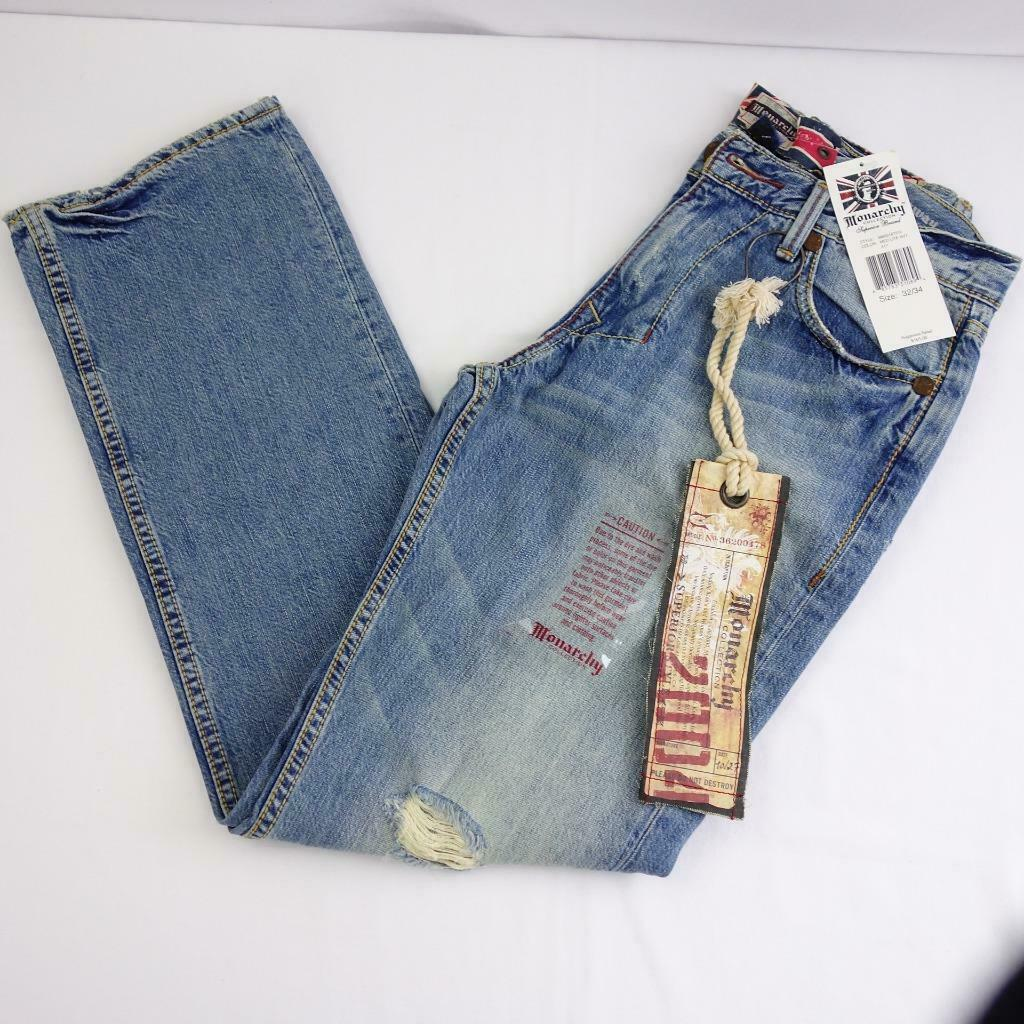 Primary image for Monarchy Collection Distressed Classic Straight Denim Jeans Mens Sz 32 x 34