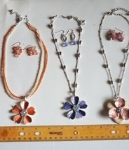 (3) Sets Croft & Barrow Earring & Necklace Sets with Hanging Flower Pend... - $6.00