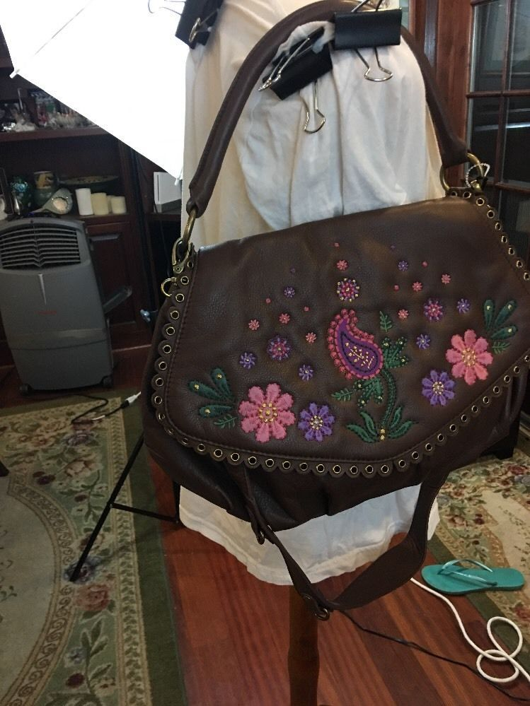 af113aa411 S l1600. S l1600. Previous. New Isabella Fiore Embroidered Purse Leather  brown Hand Bag Leather Pink Flowers