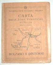 Antique 1930s North Italy South Tirol Map TCI Carta Bolzano E Dintorni