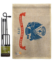 Army Burlap - Impressions Decorative Metal Garden Pole Flag Set GS140301-DB - $33.97