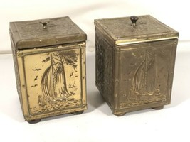 Brass Embossed On Wood Tea Caddy Pair Tin Lined English Antique Canister... - $118.80