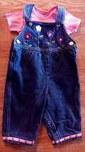 Girl's Size 6-9 M Month Two Piece Blue Denim Floral Suspenders & Carter's Top - $9.00