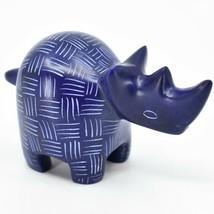 Tabaka Chigware Hand Carved Kisii Soapstone Blue Rhinoceros Rhino Figure Kenya