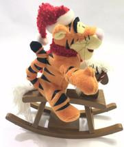 "Rare Gemmy Disney Singing Tigger On Rocking Horse Christmas Santa Hat 11"" - $39.59"