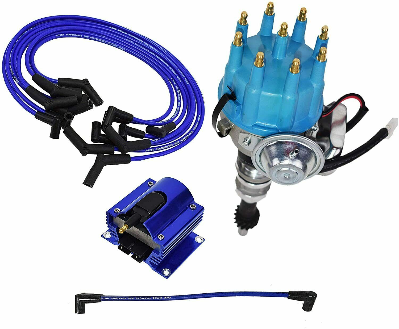 Ford SB R2R Distributor 351W 8.0mm Spark Plug Wires 50K Volt Coil