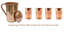 Pure Copper Ayurvedic Water Storage Jug / Pitcher With 4 Copper Glass Fr... - $38.99